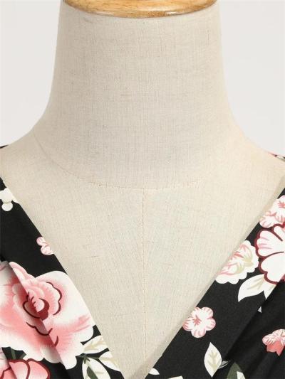 Black 1950S V Neck Rose Floral Fold Swing Dress