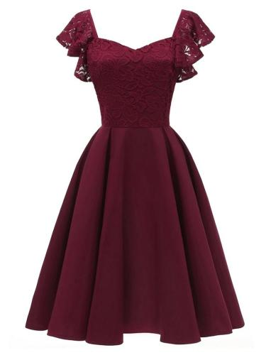 1950S Ruffle Lace Sleeve Solid Color Swing Midi Dress
