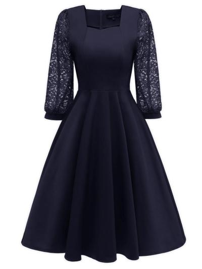 Elegant 1950S Lace 3/4 Puff Sleeve Patchwork Square Neck Swing Dress