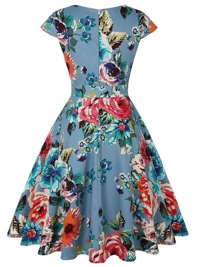 1950S Floral Cap Sleeve Bow Belted Swing Dress
