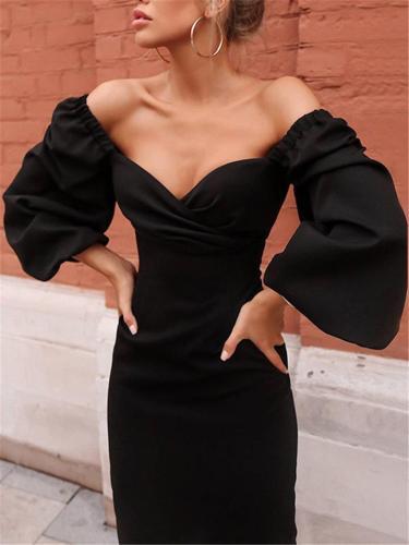 Tempting Sweetheart Puff Sleeve Midi Bodycon Dress