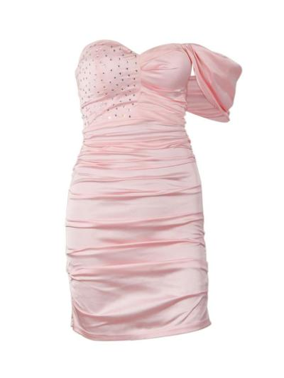 Molly Pink Crystallized Draped Satin Bodycon Dress