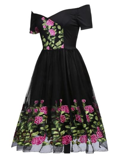 1950S Peony Embroidery Patchwork Dress