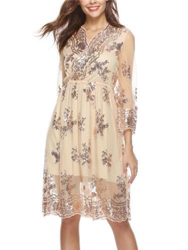 Chic Sequins Lace VNeck Fairy Dress