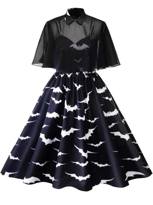Plus Size 1950S Retro Straps Halloween Bat Print Swing Dresses + Peter Pan Collar Cloak