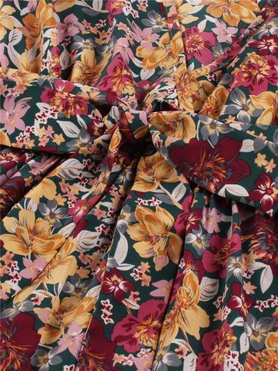 Pretty 1950S Vintage Floral V Neck Tie Waist Bell Sleeve Midi Dress