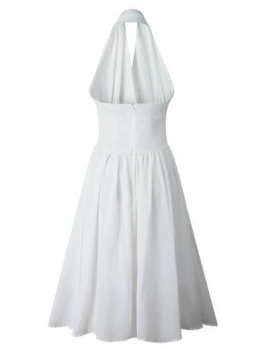 White 1950S Sexy V Neck Halter Holiday Swing Dress