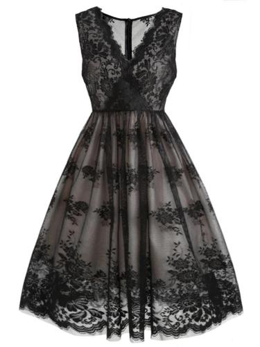 Black 1950S Feminine V Neck Lace Floral Swing Dress