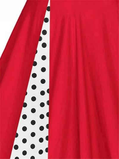 1950S Polka Dot Patchwork Long Sleeve A-Line Dress
