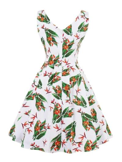 1950S Leaf With Floral Print Sleeveless Dress