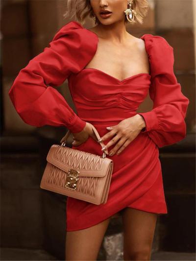 Fashion Sweetheart Ruched Puff Sleeve Mini Dress