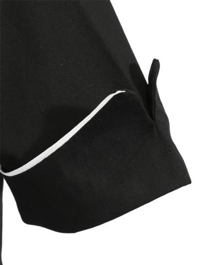 Black 1950S Elegant Button Square Collar A-Line Dress