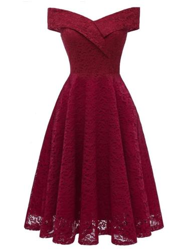 1950S Lace Floral Off Shoulder Swing Dress