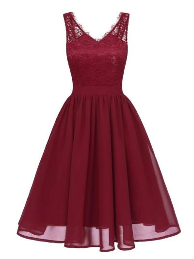 1950S Lace Patchwork Sleeveless Swing Dress