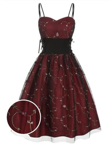 Wine Red 1950S Lace Up High Waist Embroidery Spaghetti Strap Dress