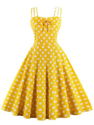 1950S Cute Spaghetti Strap Polka Dot Midi Dress
