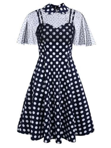 Navy Blue 1950S Polka Dot Strap Swing Dress With Lace Cape