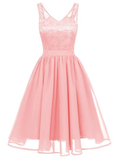 1950S Lace Patchwork Sleeveless Swing Dress