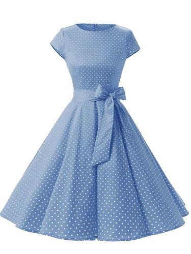 1950S Lovely Polka Dot Cap Sleeve Swing Dress