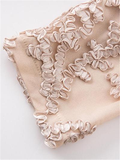 Plus Size Gold Lace Applique Floral Half Sleeve High-Low Dress