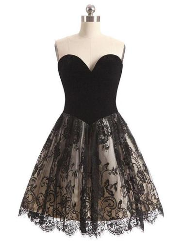Black Lace Tube Top Sexy A-Line Cocktail Dresses For Prom