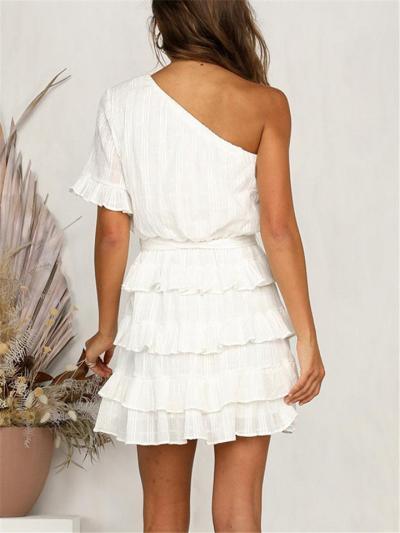 Pretty One Shoulder Tie Waist Ruffle Mini Dress