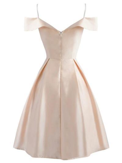 1950S Cold Shoulder Bow Satin Strap Dress