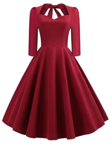 1950S Solid Color Decent 3/4 Sleeve Swing Dress