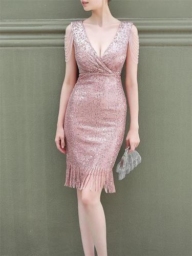 Charm Sequins V Neck Mid Dress For Party