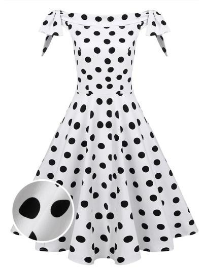 White 1950S Adorable Polka Dot Off Shoulder Dress