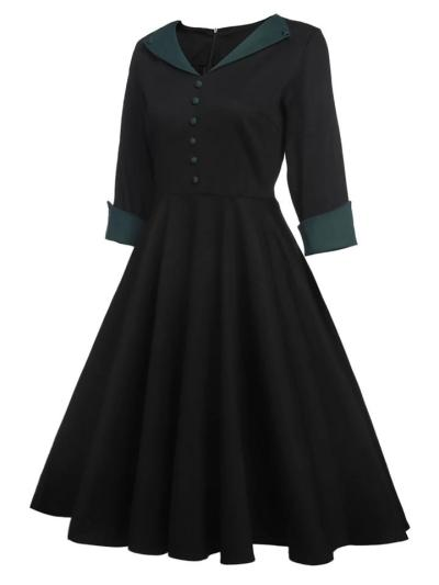 Black and Green 1950S Decent Half Sleeve Button Swing Dress