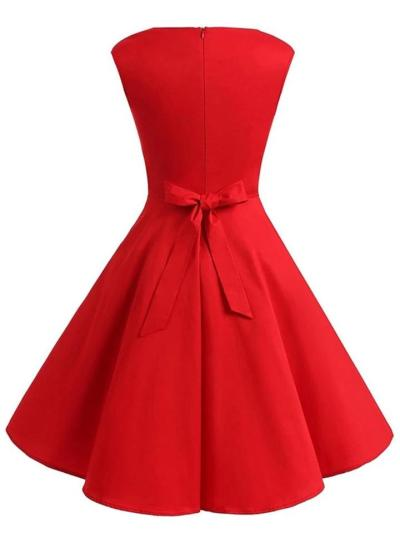 Solid Color 1950S Sweetheart Collar Bow Belted Swing Dress