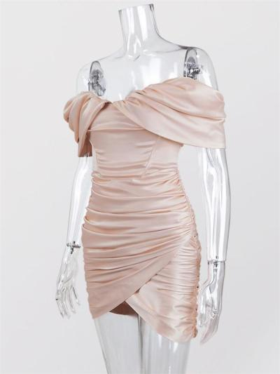 Sexy Satin Off Shoulder Strapless Bodice Fold Dress For Party