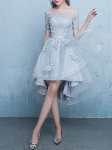 Blue Lace Elegant Floral Off Shoulder High-Low Cocktail Dress