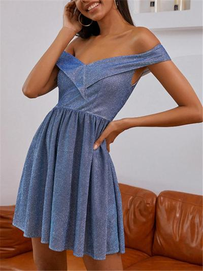 Blue Sparkly Off Shoulder A-Line Dress For Party