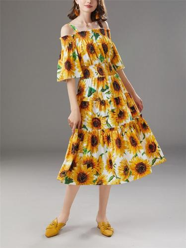 Yellow 1950S Sunflowers Off Shoulder Strap Swing Dress
