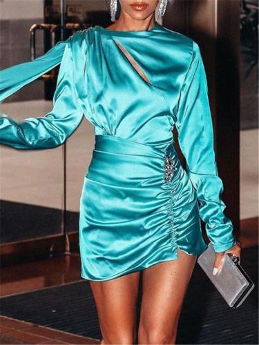 Light Blue SatinLong Sleeve Shoulder Board Diamond Asymmetrical Dress