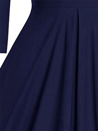 Solid Color 1950S Elegant Long Sleeve V Neck Pleated Swing Dress
