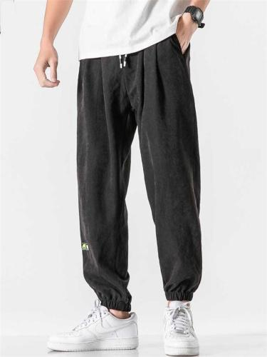 Casual Loose Harem Logo Ankle Pants