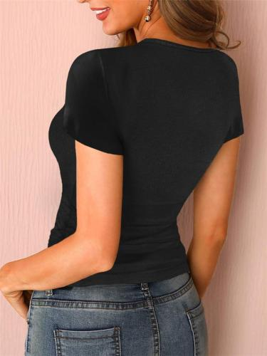 Stretch-Design Front Button Scoop Neck Fine Ribbed Straight Hem Basic T-Shirt