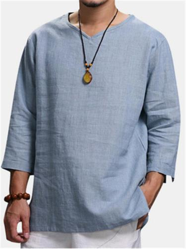 Mens Casual Plain 3/4 Sleeve Shirts