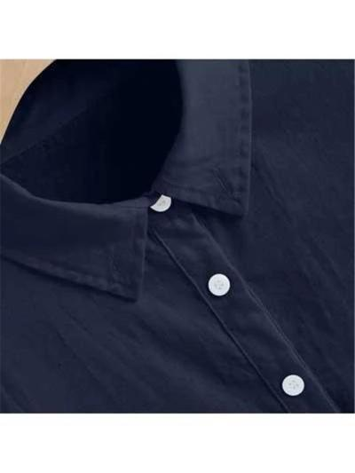 Men's Casual Pure Color Cotton Linen Half-Sleeve Shirts