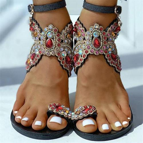 Super Stylish Toe-Ring Rhinestone-Embellished Ankle Strap Buckle Fastening Sandals