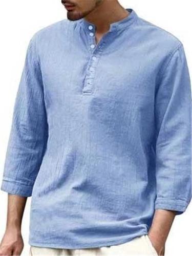 Men's Casual Pure Color Cotton Linen Half-Sleeve Shirts