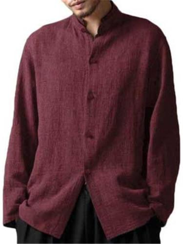 Mens Casual Vintage Solid Color Full Button Long Sleeve Shirts