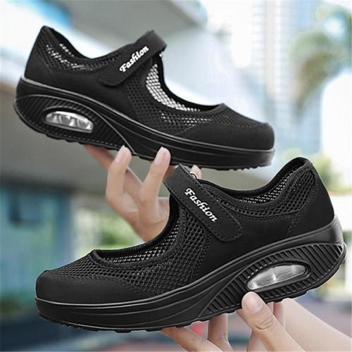 Functional Rocker Bottom Velcro Fastening Mesh Panels Flat Sole Shoes