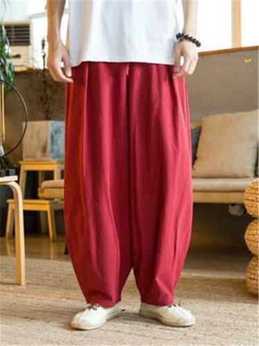 Casual Baggy Cotton&Linen Elastic Waist Pants