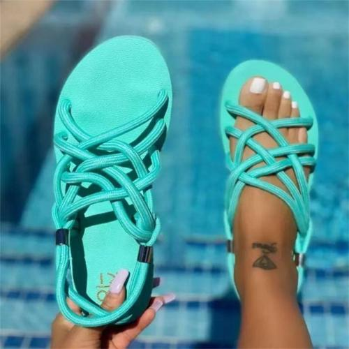 Summer Beach Multiple Front Cross Strap Lightweight Sandals Slippers