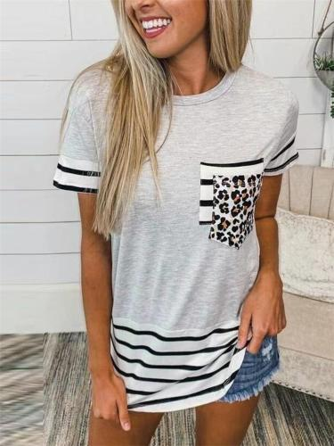 Slouchy Leopard Stripe Print Crew Neck Chest Pocket Straight Hem T-Shirt