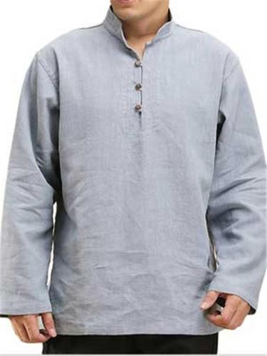Mens Cotton Linen Loose Stand Collar Long Sleeve Shirts